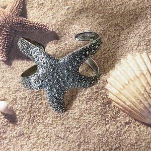 Starfish large cuff bangle bracelet silver tone
